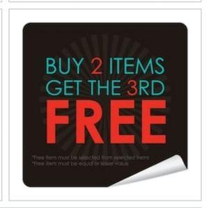 Buy 2, get a 3rd item free